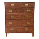 Image of Baker Furniture Milling Road Campaign Style Highboy Dresser For Sale