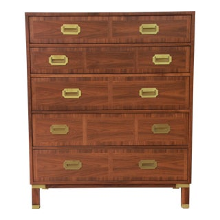 Baker Furniture Milling Road Campaign Style Highboy Dresser For Sale