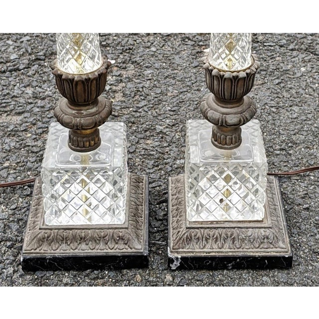 Vintage 20th Century French Empire Style Pressed Glass & Metal Lamps - a Pair For Sale - Image 4 of 8