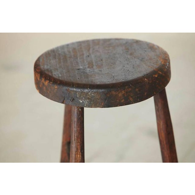 Late 19th Century Primitive Rustic Three Legged Stool For Sale - Image 4 of 6