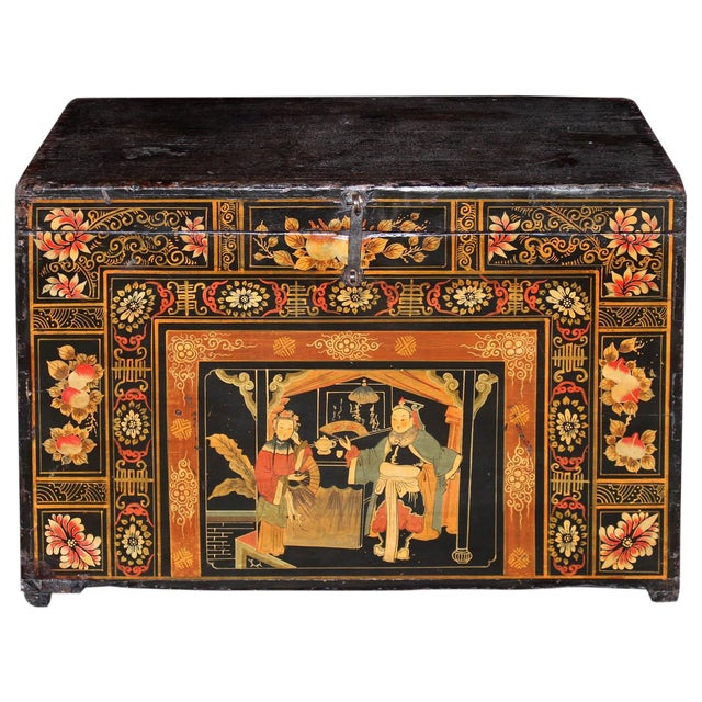 1920s Antique Painted Wedding Trunk For Sale