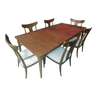 Mid-Century Modern Thomasville Furniture Ellen Degeneres Walnut Dining Set- 7 Pieces For Sale