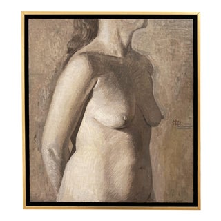 Contemporary Figurative Female Nude Oil Painting, Framed For Sale