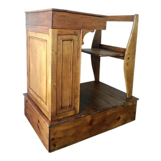 1940s Children's Adjustable Spanish School Desk in Wood For Sale