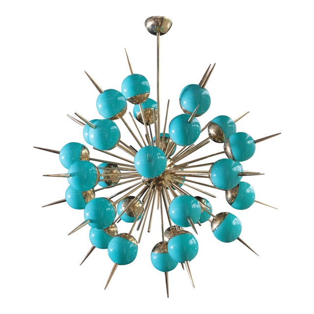 1 of 2 Huge Tiffany Turquoise Murano Glass and Brass Sputnik Chandeliers For Sale