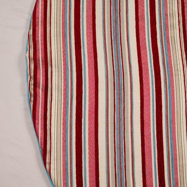 Contemporary Red, Pink and Blue Striped Tree Skirt For Sale - Image 9 of 10