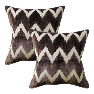 Lee Jofa Belgian Velvet Accent Pillows - Set of 2 ~ Down Feather Inserts Included For Sale