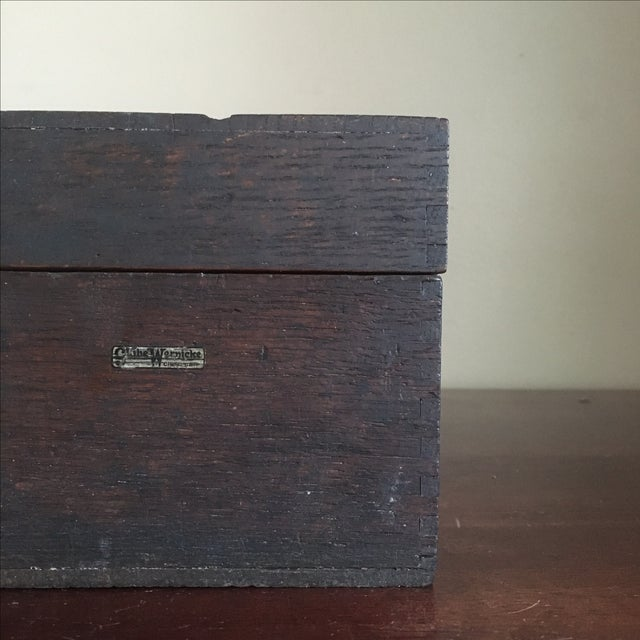 Industrial Vintage Globe Wernicke Wooden Index Card File Box For Sale - Image 3 of 11