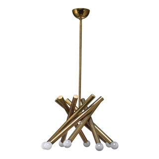 Stilnovo Brass Chandelier With 8 Arms, Italy For Sale