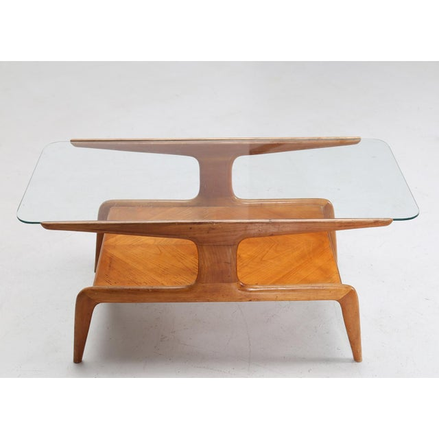 Glass Gio Ponti Coffee Table in Ash and Glass Top For Sale - Image 7 of 9