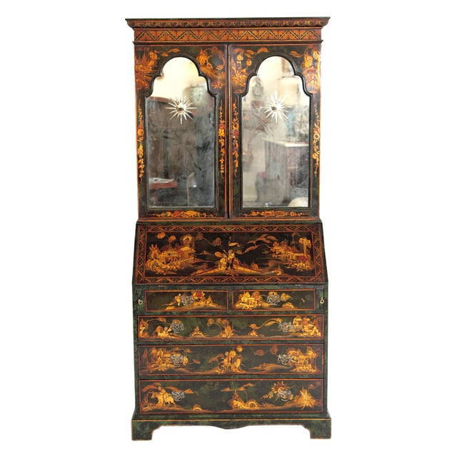 English Chinoiserie Secretary With Mirrored Doors For Sale - Image 13 of 13