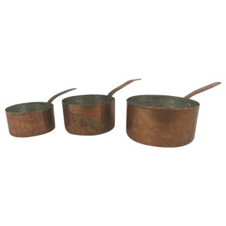 Antique Copper Pots with Dovetailing - Set of 3