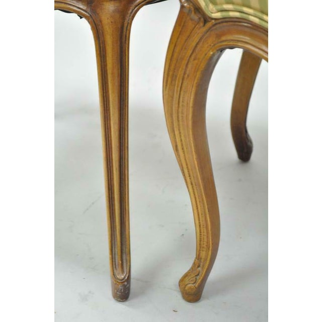 Yellow 1950s Vintage French Provincial Triple Oval Pretzel Back Walnut Dining Chairs- Set of 6 For Sale - Image 8 of 11