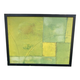 Contemporary Painting in Hues of Green, Framed For Sale