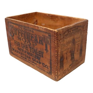 Antique American Sweetheart Soap New York Wood Shipping Crate For Sale