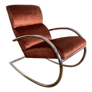 Mid Century Chrome Rocking Chair in Rust Velvet For Sale