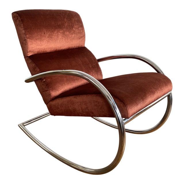 Mid Century Chrome Rocking Chair in Rust Velvet For Sale