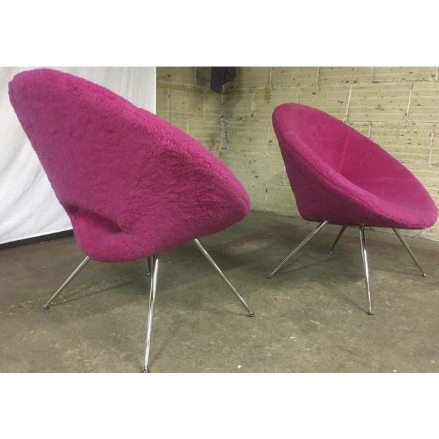1950s Danish Pair of Flying Saucer Shaped Newly Covered in Pink Wool Faux Fur For Sale - Image 5 of 5