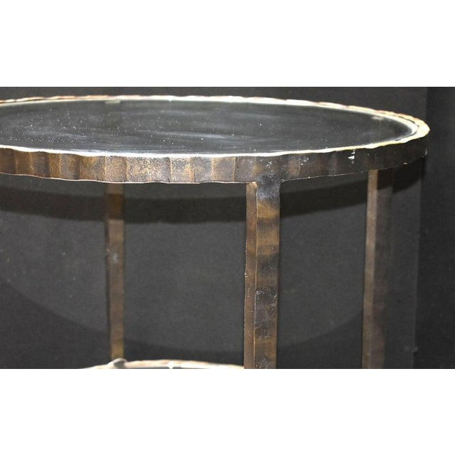 Mid-Century Modern 1960s Mid-Century Modern Hammered Iron Two Tiers Round Side Table For Sale - Image 3 of 9