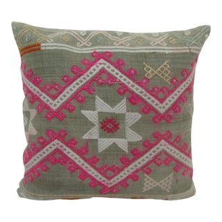 Vintage Turkish Embroidered Pink and Green Kilim Pillow Cover For Sale