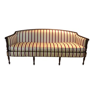 Traditional Hickory Chair Furniture Company Bronze Fabric Upholstered Mahogany Settees