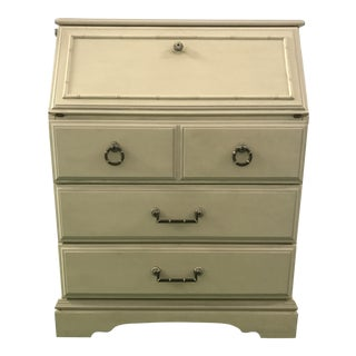 Petite White Faux Bamboo Secretary Desk For Sale