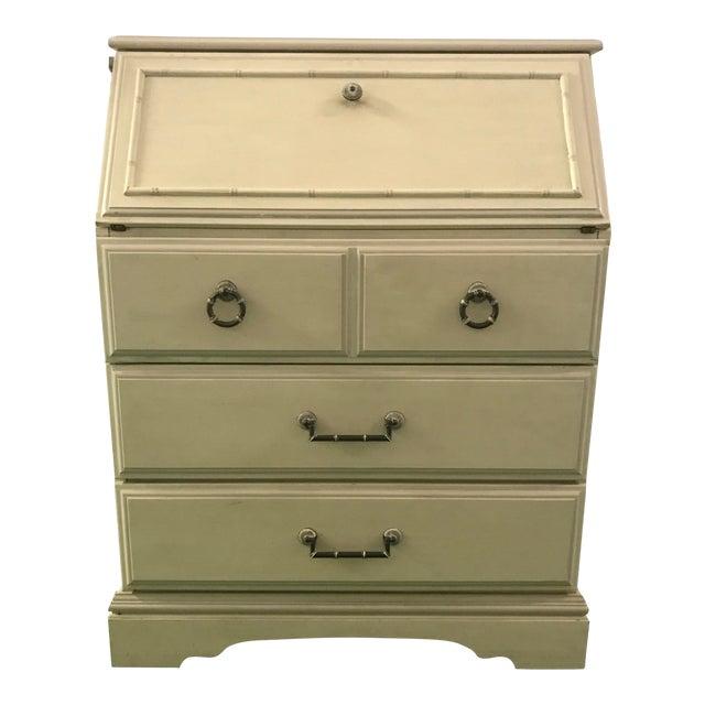 Petite White Faux Bamboo Secretary Desk For Sale