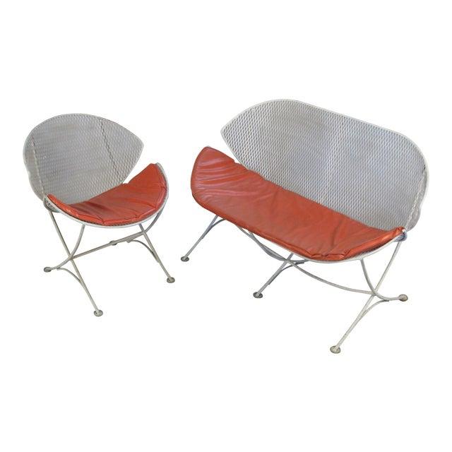 1950s Salterini Orange Slice Settee and Lounge Chair For Sale