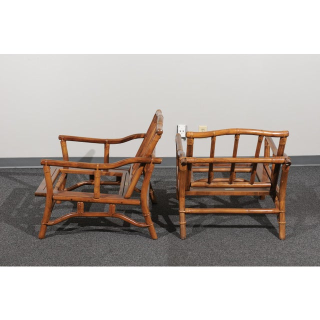 1970s Beautiful Restored Pair of Pagoda Style Loungers by Ficks Reed, circa 1970 For Sale - Image 5 of 13