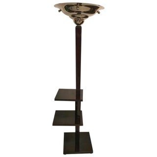 French Mid-Century Chrome and Wood Floor Lamp For Sale
