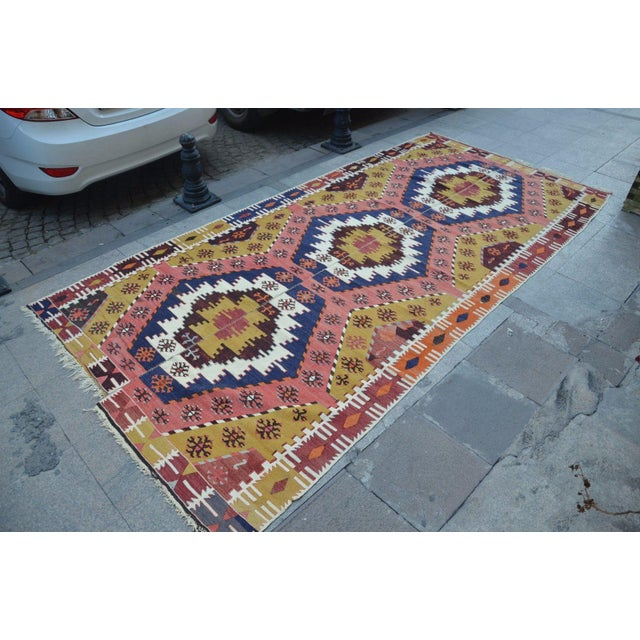 "Boho Chic Vintage Turkish Kilim Rug - 6' X 12'7"" For Sale - Image 3 of 6"