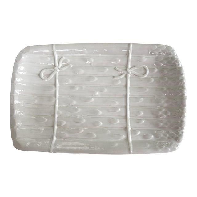 Large - White on White Glazed Asparagus Platter Made in Portugal For Sale