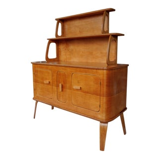 1940s Thaden-Jordan Sideboard Server With Graduated Two-Tiered Display Hutch For Sale