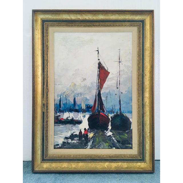Blue Mid Century Impressionist Oil on Canvas Harbor Scene For Sale - Image 8 of 12