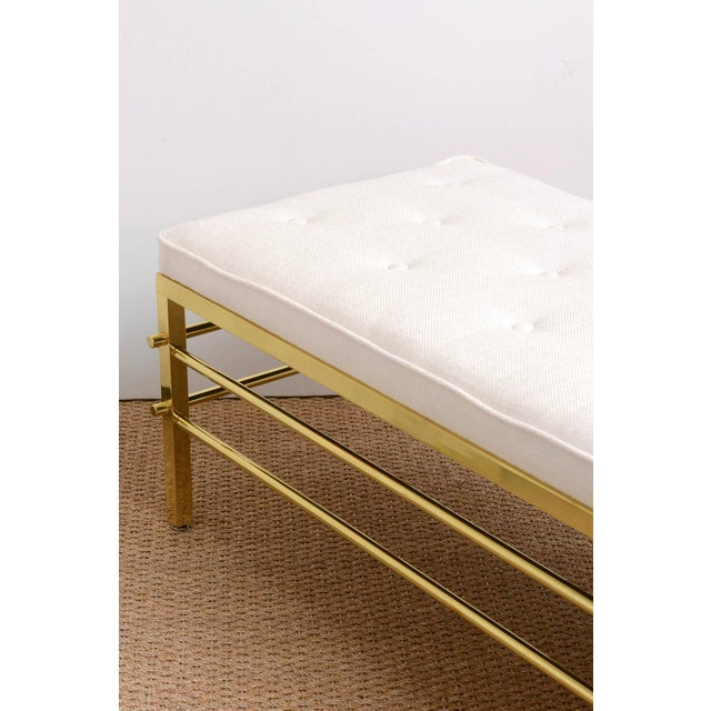 Stunning Tommi Parzinger Style Solid Brass and Upholstered Rare Modernist Bench - Image 8 of 9