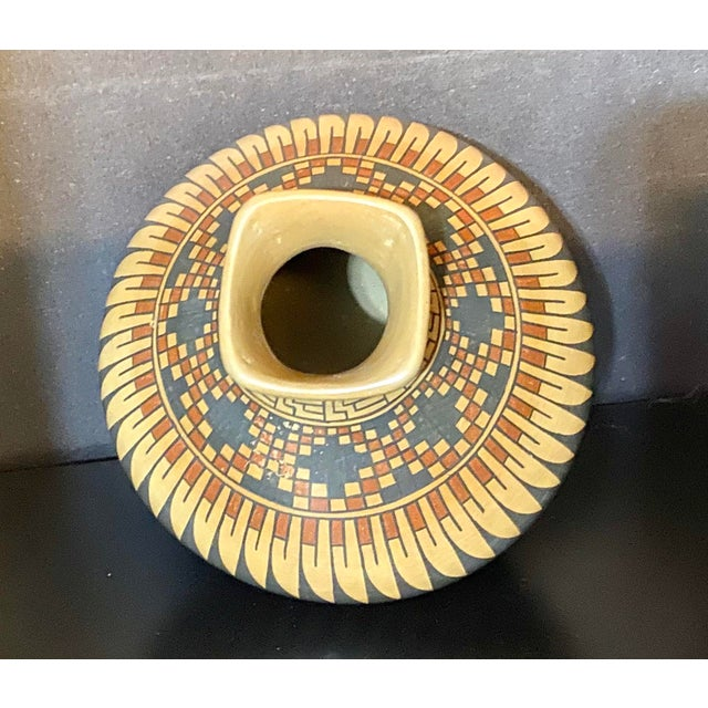 Vintage Native American Style Hand Painted & Crafted Maria Mora Pottery Vase For Sale - Image 4 of 6