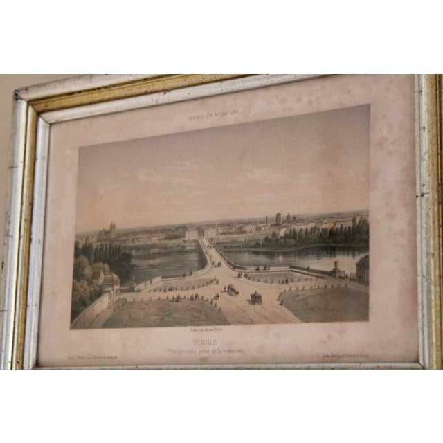 Wood French Country Prints in Silver and Gold Bamboo Style Wooden Frames - a Pair For Sale - Image 7 of 10