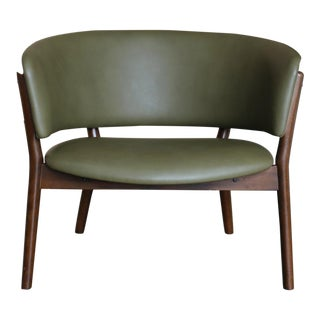 Mid Century Danish Modern Nanna Ditzel Forest Green Leather Lounge Chair