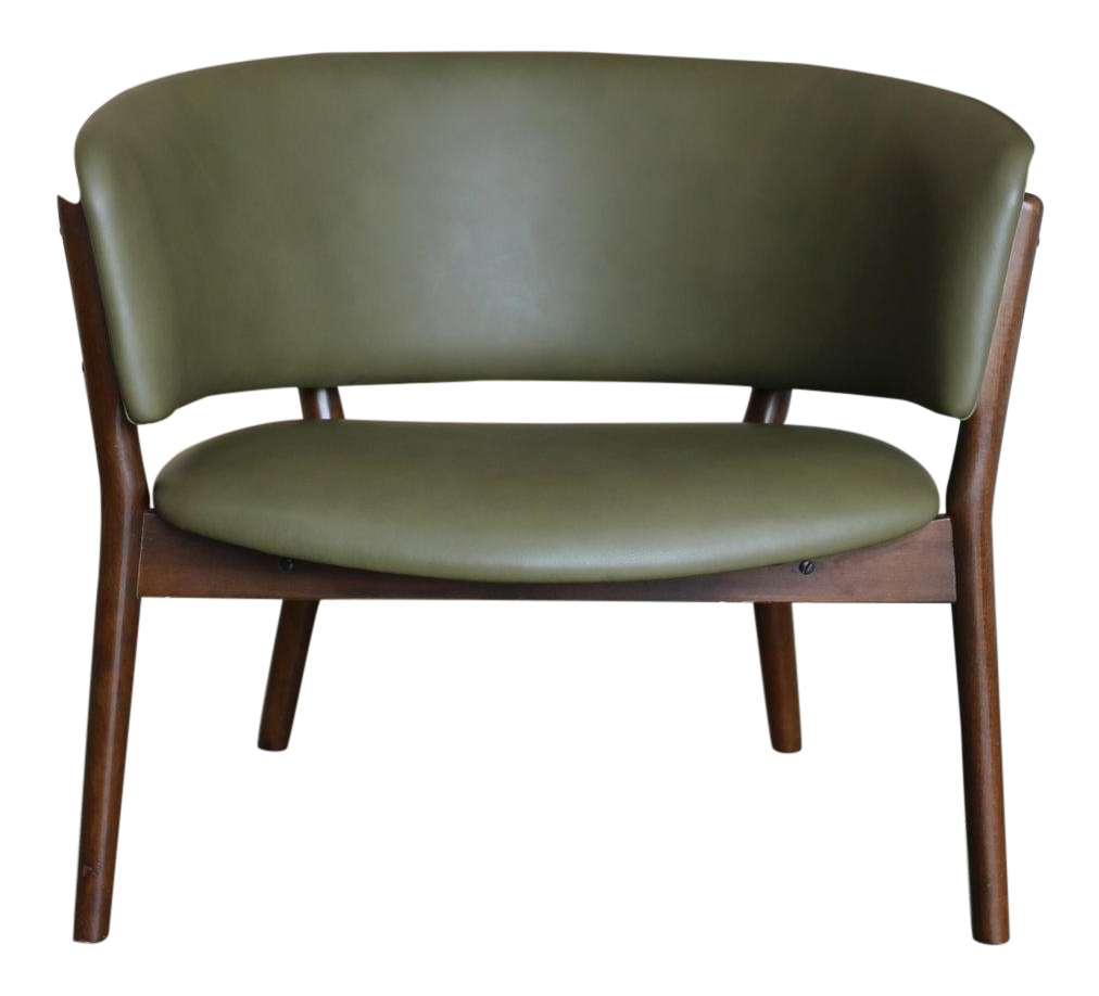 Superb Mid Century Danish Modern Nanna Ditzel Forest Green Leather Lounge Chair