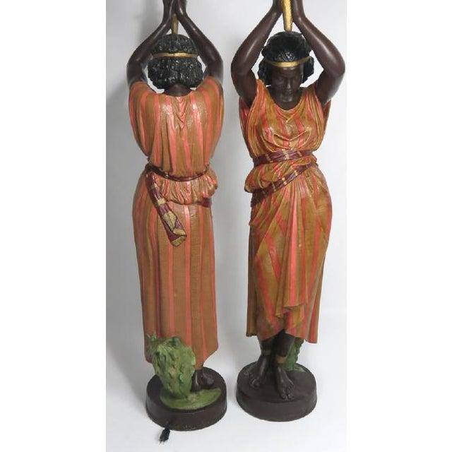 Antique Art Nouveau Polychromed Metal Nubian Maiden Torcheres - A Pair - Image 3 of 3