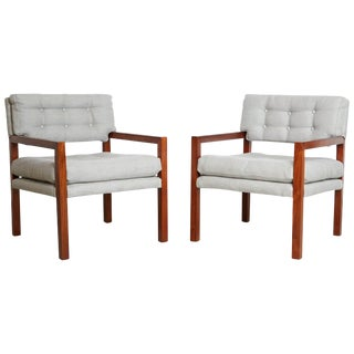 1960s Mid-Century Modern Walnut Framed Restored Armchairs - a Pair For Sale
