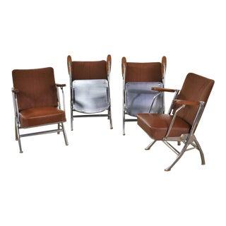 Vintage Art Deco Streamline Bauhaus Chrome Frieze Vinyl Folding Auditorium Chairs For Sale