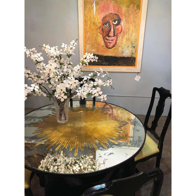 Monumental Gilt Gold & Silver Glass Sunburst Mirrors or Table Top Pair For Sale - Image 10 of 13