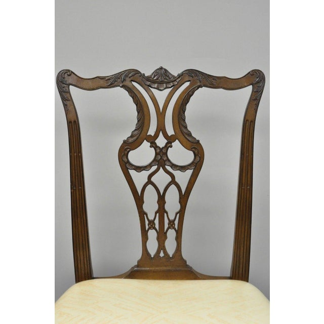 Asian Antique Mahogany Pagoda Carved Chinese Chippendale Style Dining Chairs - Set of 4 For Sale - Image 3 of 12