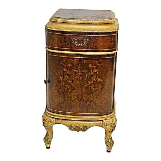 Antique Louis XV Marquetry Inlaid Commode Nightstand For Sale
