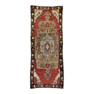 Vintage Turkish Oushak Carpet Runner with Modern Tribal Style
