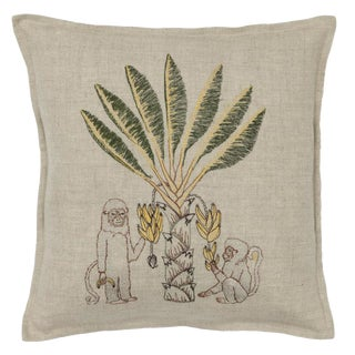 Monkeys With Banana Tree Pillow
