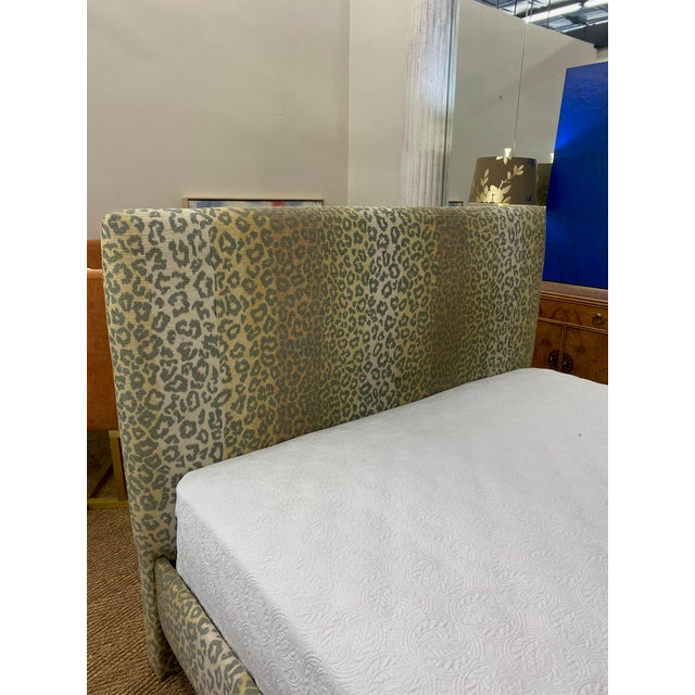 2010s Contemporary Cheetah Upholstered Queen Bed with Italian Gold Leaf Corona For Sale - Image 5 of 9