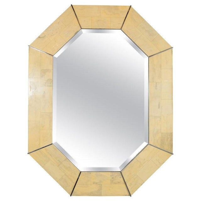 Karl Springer Mid-Century Elongated 8-Sided Marbleized Lacquer and Brass Mirror For Sale In New York - Image 6 of 6