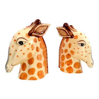Vintage Fitz and Floyd Porcelain Giraffe Safari Bookends ~ a Pair For Sale